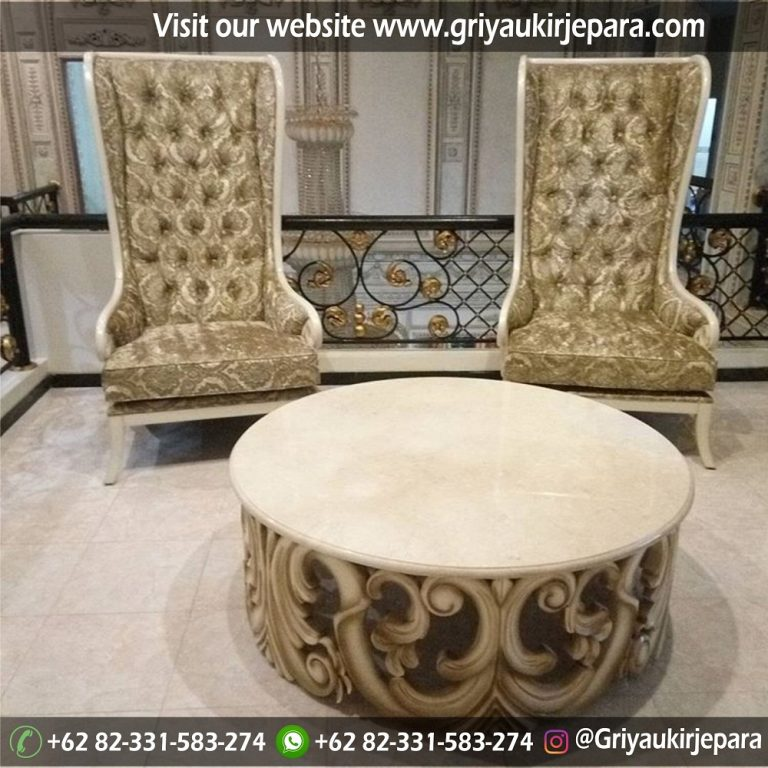 Kursi Teras Modern Meja Bundar Top Table Marmer