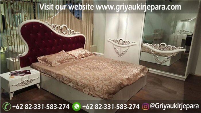 kamar set 31 - Tempat Tidur Dipan Jati Ukiran Warna Putih Kode BED 011