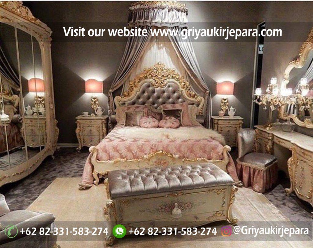 Tempat Tidur Modern Lukis Motif Bunga Mewah