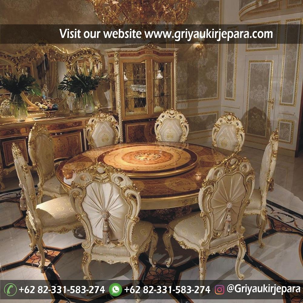 meja makan bundar 8 kursi mewah
