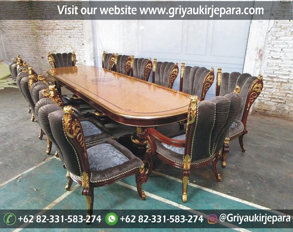 meja makan mewah 14 kursi
