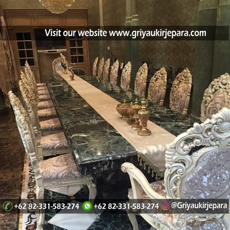 meja makan mewah 20 kursi