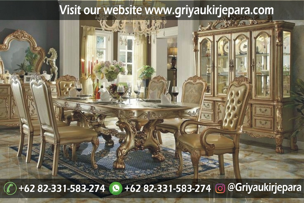 meja makan59 - 10+Model Set Meja Makan Jati Ukiran