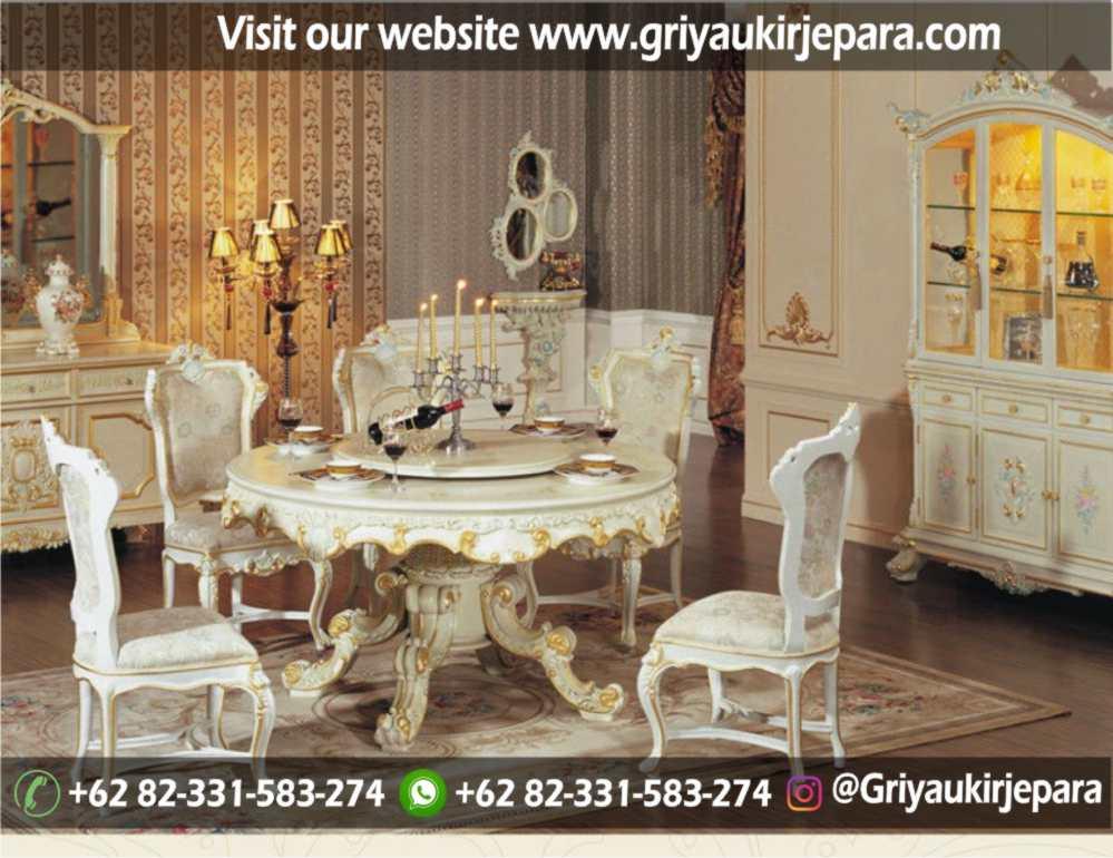 meja makan bundar 5 kursi atau 6 kursi mewah dengan warna duco kombinasi emas