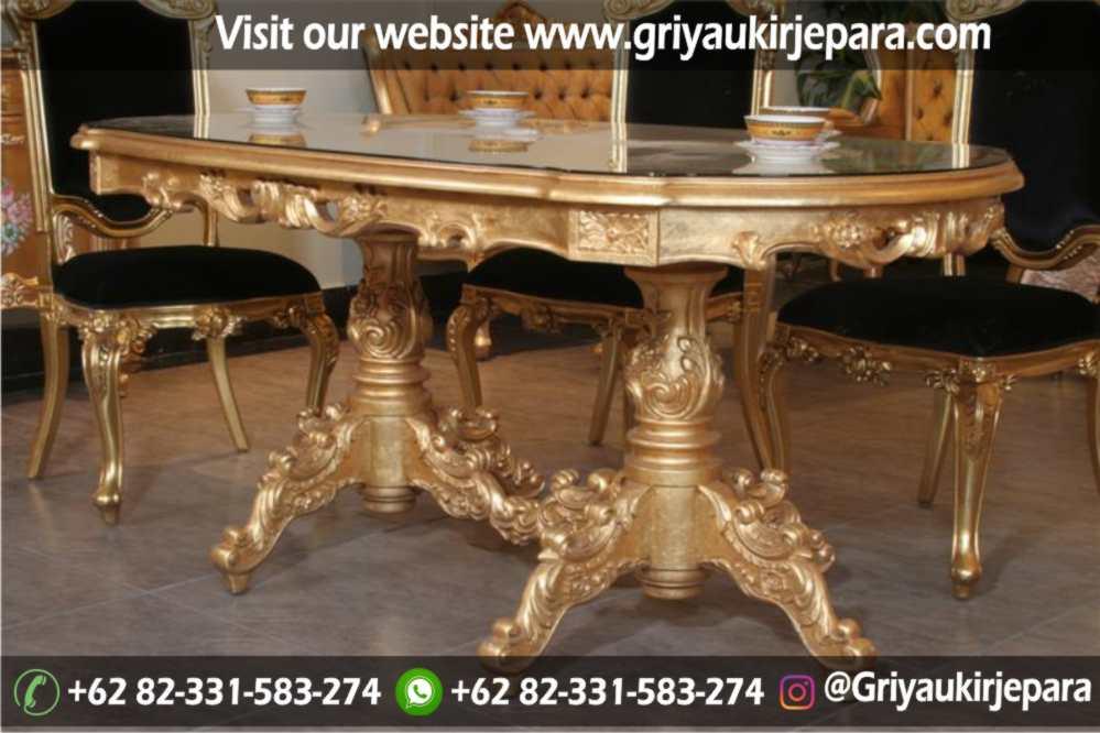 Model meja makan ukiran warna gold