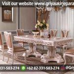 Meja makan ukiran Jepara model design modern