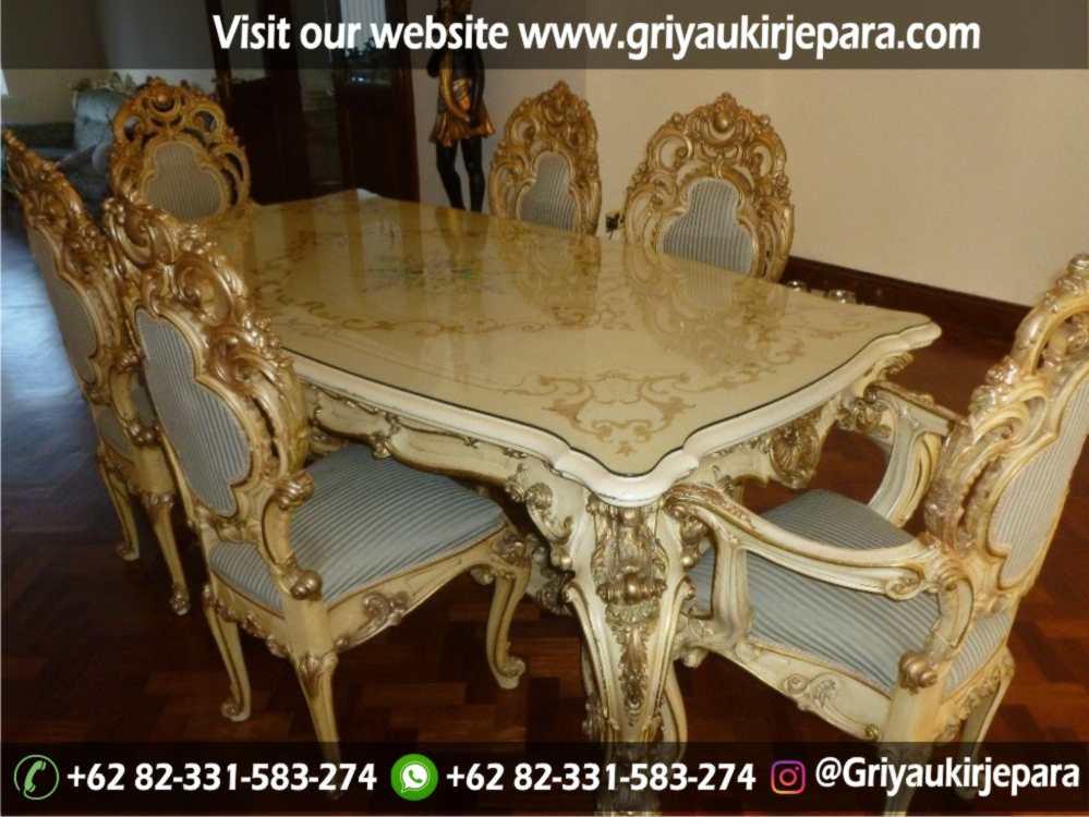 Model meja makan Minerva mewah klasik furniture Jepara
