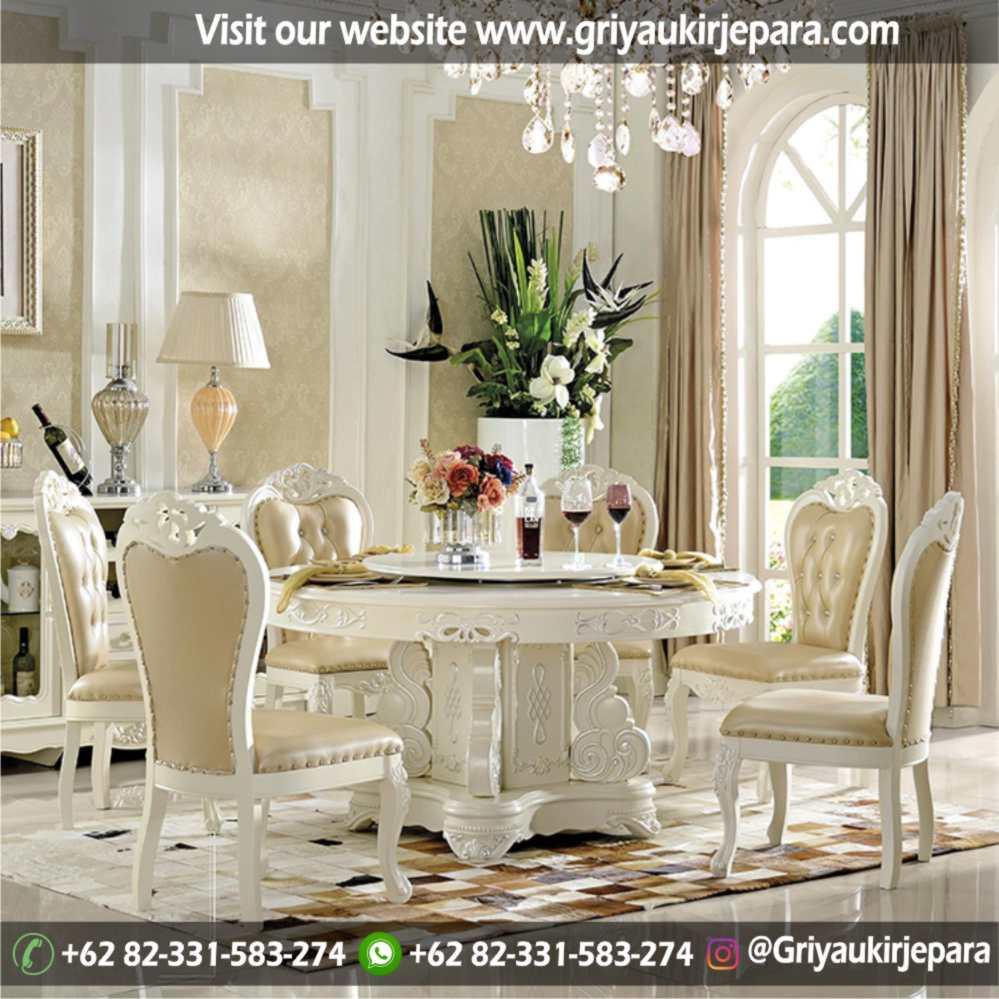 meja makan bundar atau round table kursi 6 terbaru