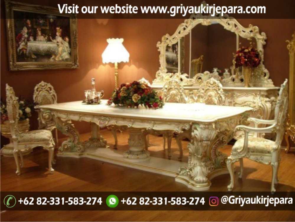 Model meja makan Minerva 8 kursi full ukiran Jepara