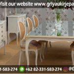 Model meja makan modern warna ivory 6 kursi