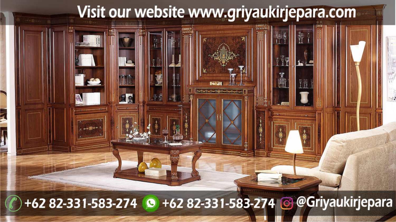 Sofa Ruang Tamu Modern Griya Ukir Jepara 3 - Backdrop Lemari Pajangan Ruang Tamu Klasik LM-011
