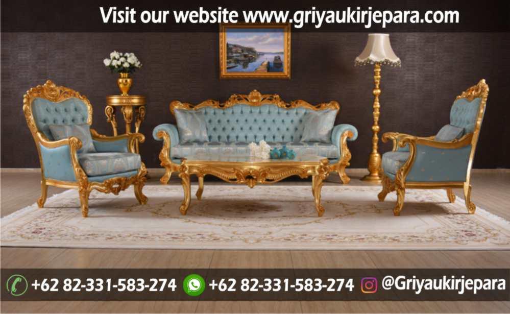 Sofa Ruang Tamu Mewah warna Gold
