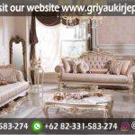 sofa ruang tamu ivory kombinasi gold