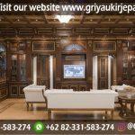 Interior ruang tamu klasik sofa ruang tamu dan backdrop kayu