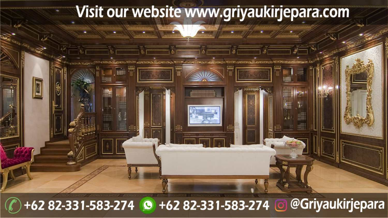 Sofa Ruang Tamu Modern Griya Ukir Jepara 4 - Backdrop Dinding Kayu Jati Mewah