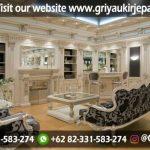 Set Sofa Ruang Tamu Mewah Gaya Eropa Lengkap dengan backdrop
