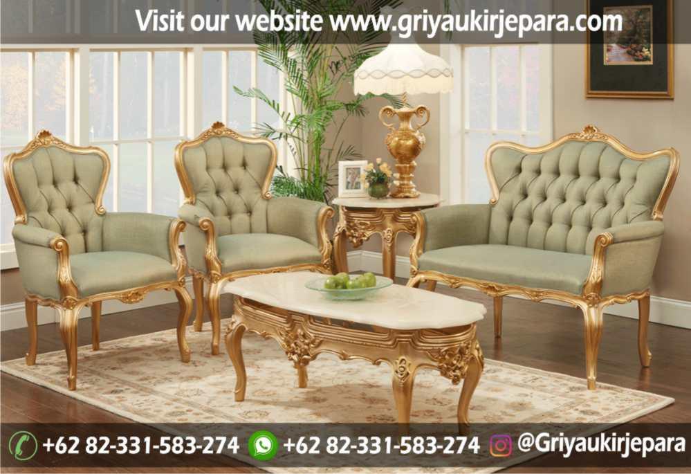 Sofa Ruang Tamu Modern Griya Ukir Jepara 43 - Sofa Ruang Tamu Ukir Warna Gold SRT 110-105