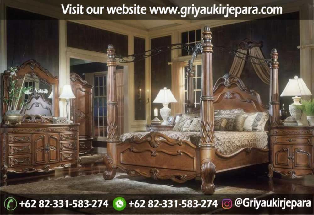 gambar kamar set modern dan klasik ukiran Jepara griya ukir jepara 20 - 10+ Desain Tempat Tidur Kanopi Ukir Jepara