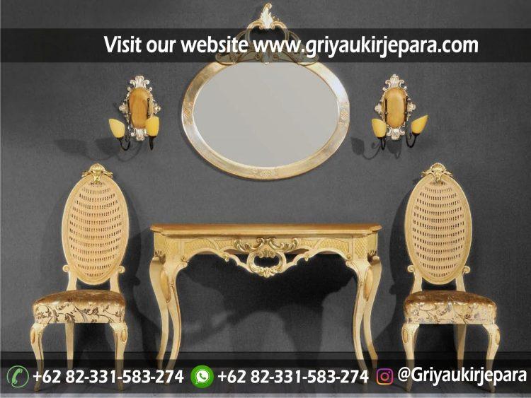 set meja konsul mewah dengan 2 kursi dan meja kualitas mewah