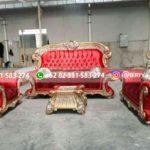 sofa ruang tamu jati warna merah