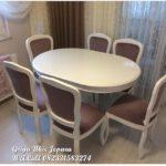 Meja makan 6 kursi warna putih
