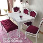 meja makan modern kursi 4 dan stool