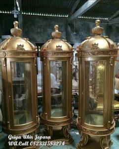 Lemari Hias Model Botol Terbaru Warna Gold LM 004
