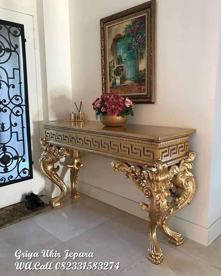 meja konsul ukir warna emas