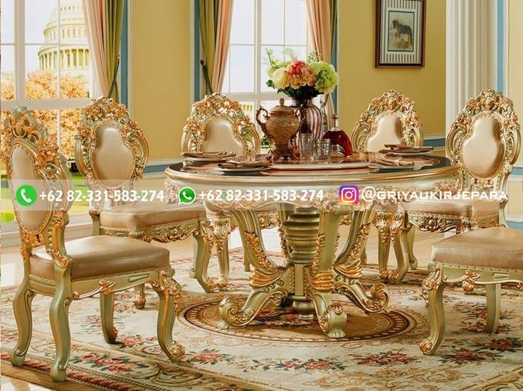 meja makan jati bundar minerva - Meja Makan Bundar Jati Mewah Jepara