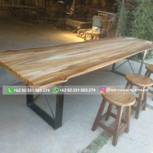 meja makan jati kaki besi 300x300 - Meja Makan Kayu Jati Modern Murah