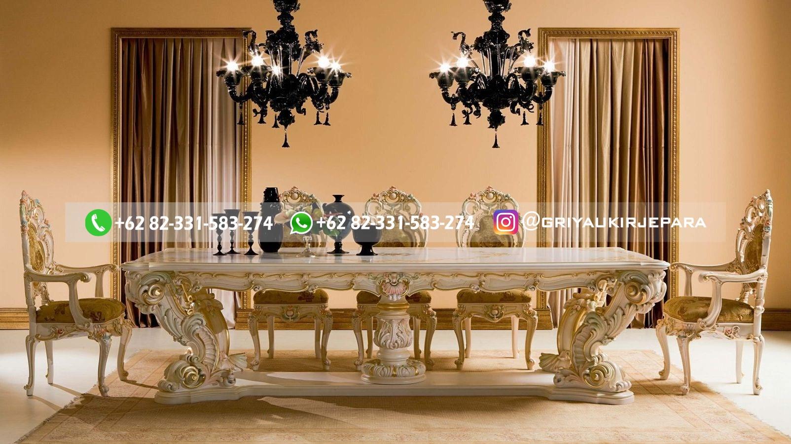 meja makan minerva 8 kursi - Meja Makan Jati Minerva Mewah