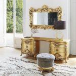 meja rias warna gold mewah