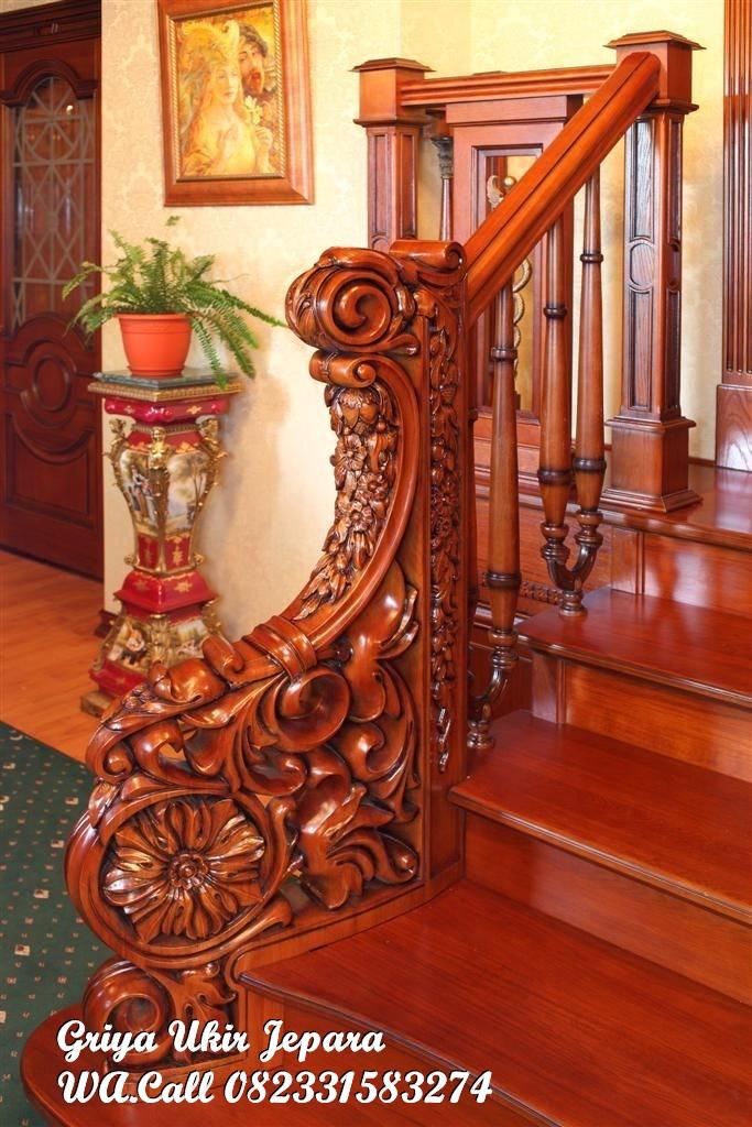tangga kayu jati mewah ukiran mewah