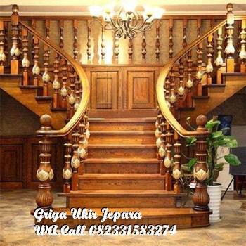 tangg kayu mewah 5 - Tangga Kayu Jati Furniture Jepara TK-009