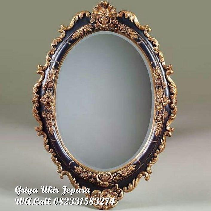 pigura cermin oval