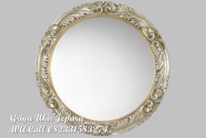 Pigura Cermin Bulat Ukiran Mewah PC-036
