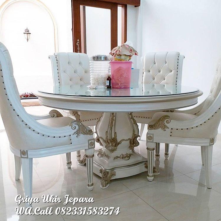 set meja makan modern kursi 4 1 - Meja Makan Jati Bundar Modern Murah