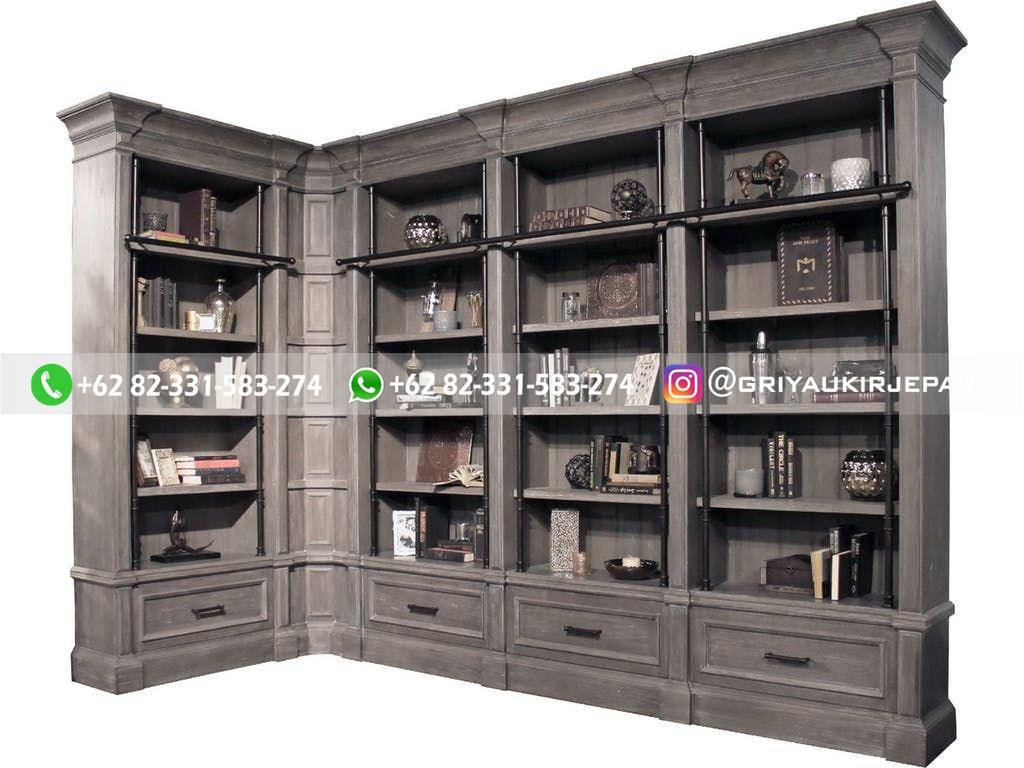 lemari pajangan jati minimalis mewah klasik ukiran 18 - Lemari Buku Kayu Jati Model Sudut LB-010