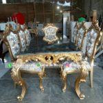 Meja makan jati kursi 8 warna gold