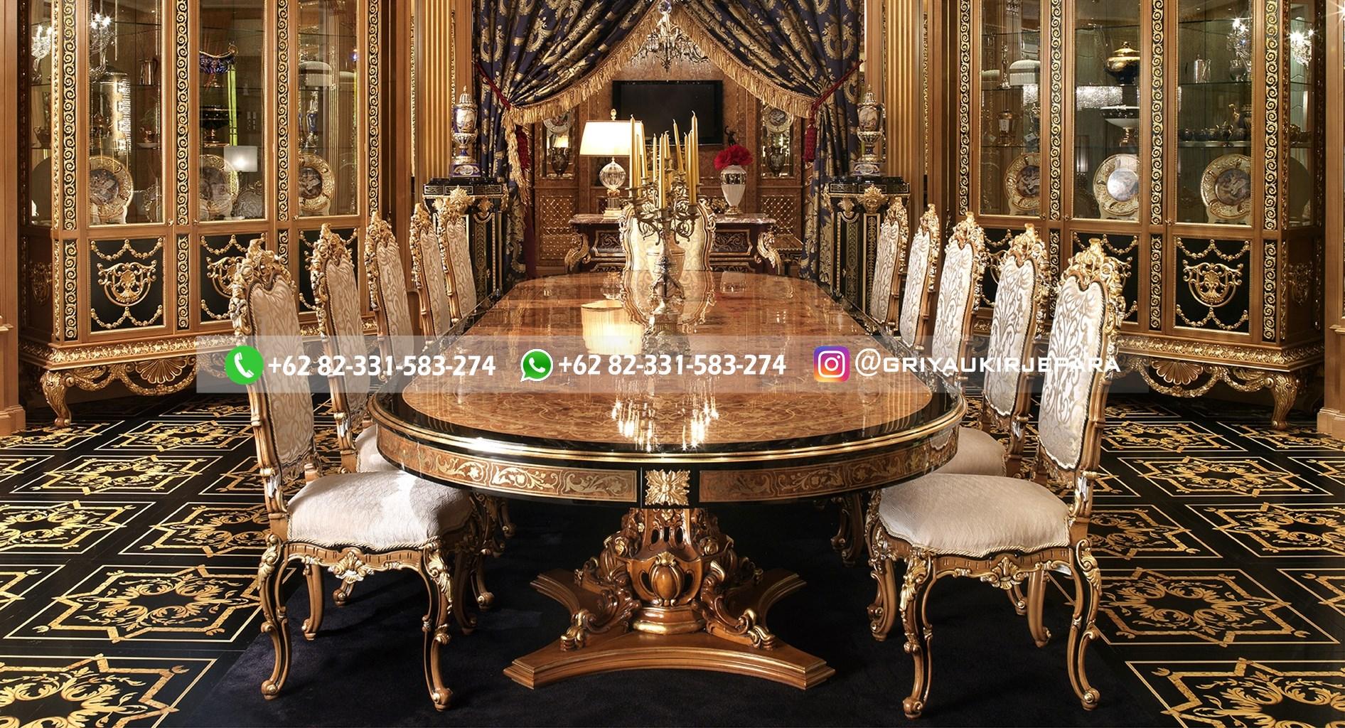 meja makan jati kursi 10 mewah