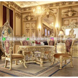 meja makan mewah jati jepara 300x300 - Meja Makan Jati Ukiran Mewah Emas