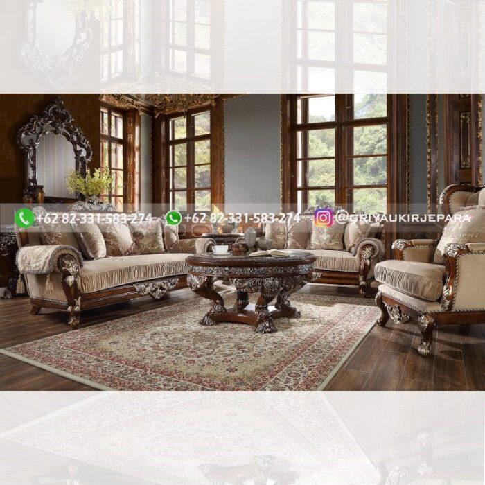 sofa ruang tamu jati mewah ukiran Jepara