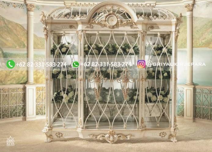 lemari hias kaca kayu jati mewah warna putih